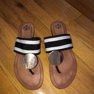 Tory Burch Patos Striped Disk Sandal